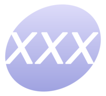 "Circular icon with the letters ""xxx"""