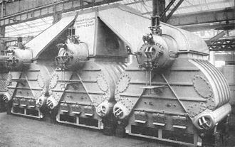 Yarrow boiler - Triple group of boilers for a Chilean battleship