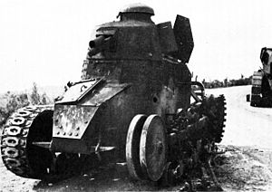 A destroyed Yugoslav Renault FT-17 or NC-27 tank