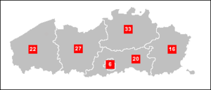 Flemish Parliament - Number of seats per constituency in Flanders
