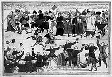 A primitive illustration of a processing group of people involved in some form of festivity. People are throwing their hats in the air, playing musical instruments and cheering up the event