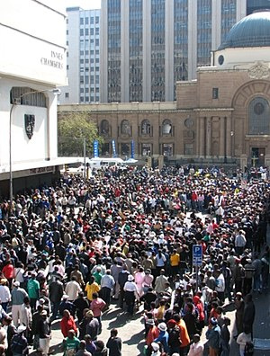Jacob Zuma - A crowd of supporters and the curious outside the Johannesburg High Court.