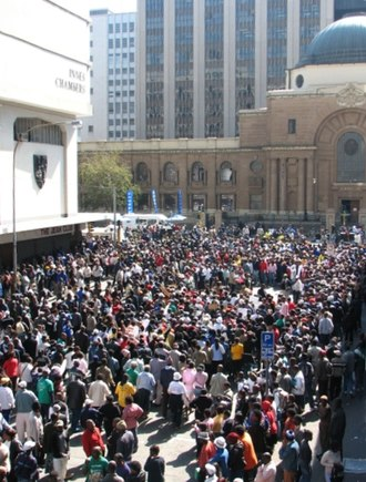 High Court of South Africa - A crowd outside the Johannesburg High Court during the Jacob Zuma rape trial.