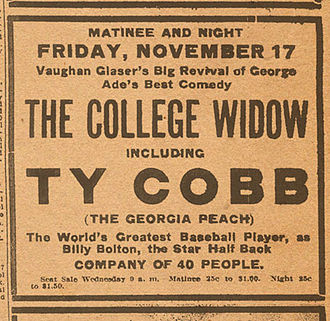 """The Savannah Theatre - Advertisement for """"The College Widow"""" featuring Ty Cobb from The Savannah Press, 1911"""