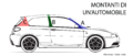 """ 15 - ITALY - Automobile body pillars - rear central and front struts - Alfa Romeo automobile line black and white drawings diagram - 147 GTA facing left (ita lang color).png"