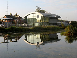 Maynooth railway station - Maynooth Station building seen from The Royal Canal