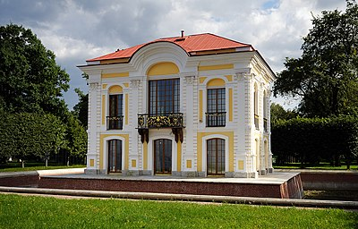 The Hermitage (Russia, Peterhof) was constructed in 1721-1725 according to the project of architect I.F.Braunstein. In 1756-1757 the masters working for B.F.Rastrelli made restoration of decorative details, and B.F.Rastrelli magnificently decorated the upper hall of the Hermitage. In 1941–1944 Hermitage it was damaged during the Great Patriotic War. In 1952 after the partial restoration it was open for visitors.