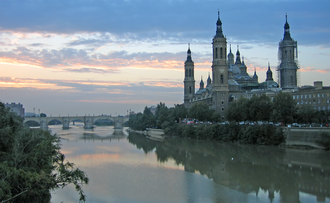 Province of Zaragoza - The Ebro River in Zaragoza city with the Basilica of Our Lady of the Pillar on the right