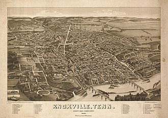 History of Knoxville, Tennessee - Image: 1 birds eye view Knoxville 1886 tn 1