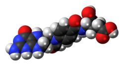 Space-filling model of the 10-formyltetrahydrofolate molecule