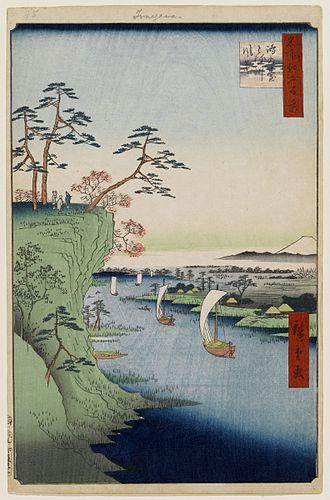 Shimōsa Province - Hiroshige's View of Konodai in Shimōsa-specifically, the then-village of Ichikawa,Chiba