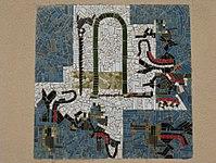 1170 Lascygasse 30-34 Stg. 3 - Mosaikhauszeichen Laubsäge von Hilde Sapper 1957 IMG 4488.jpg