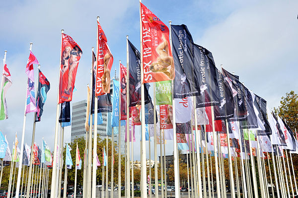 Flags at the Venus Berlin exhibition entrance, 2014
