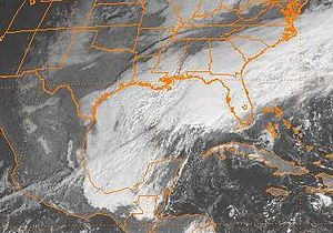 Climate of Houston - December 24 snowstorm, shown on satellite