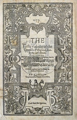 Holinshed's Chronicles - The title page of the 1577 first edition of Holinshed's Chronicles