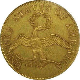 Twenty-cent piece (United States coin) - Reverse of a 1796 ten-dollar piece.  Cornelius Vermeule deemed the eagle on the twenty-cent piece a fatter version of the bird on this coin.