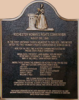 First Unitarian Church of Rochester - Plaque commemorating the Woman's Rights Convention at First Unitarian in 1848