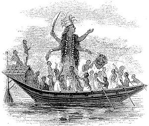 """Shaktism - """"The Hindoo Goddess Karle"""", an illustration from Dr. Scudder's Tales for Little Readers About the Heathen, by Dr. John Scudder (London, 1849)."""