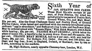Dog biscuit - 1867 advertisement for Spratts dog food