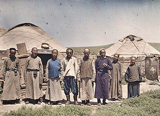 Inner Mongolia - Mongols stand in front of the yurt,1912