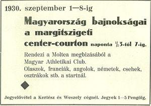 1930 Hungarian International Tennis Championships - Image: 1930 Hungarian Tennis Championships logo