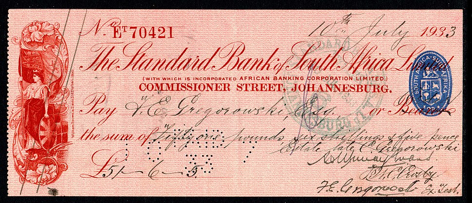 1933 South African cheque