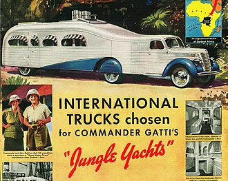 "International Harvester - 1939 Advertisement for International ""Jungle Yacht"" Tractor-trailer, for a luxury tour of the Belgian Congo."