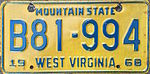 1968 West Virginia license plate.JPG
