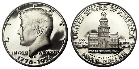 The Bicentennial half dollar resembles the earlier quarter eagle.