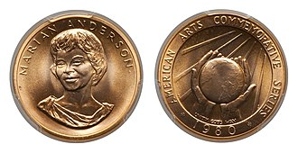 American Arts Commemorative Series medallions - Image: 1980 Marian Anderson Half Ounce Gold Medal
