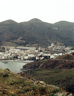 Eastern Region Army Group - View of Portbou, one of the main border posts that were overwhelmed by defeated Spanish Republican troops and civilian refugees in early February 1939