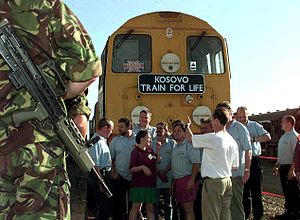 1999 in rail transport - The crew of the Kosovo Train for Life in front of the train upon its arrival in Kosovo