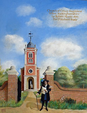 Church of St Mary Magdalene, Willen - Robert Hooke designed this English parish church for Dr. Richard Busby. Oil painting, 2009.