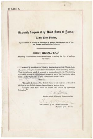 Nineteenth Amendment to the United States Constitution - Nineteenth Amendment in the National Archives