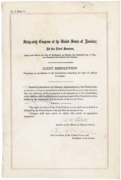 미국 수정 헌법 제19조(Nineteenth Amendment, Amendment XIX)