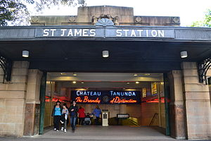St James railway station, Sydney - Elizabeth Street entrance in June 2011