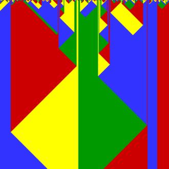 Cyclic cellular automaton - A one-dimensional cyclic cellular automaton with n = 4, run for 300 steps from a random initial configuration.