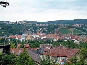 Blick auf die Altstadt von Esslingen am Neckar von der Pliensauvorstadt aus.