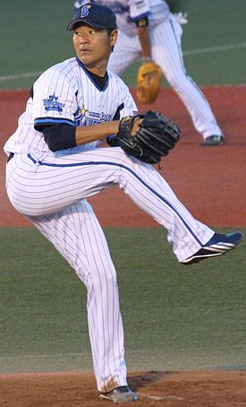 20140817 Hisanori Takahashi, pitcher of the Yokohama DeNA BayStars, at Yokosuka Stadium.JPG
