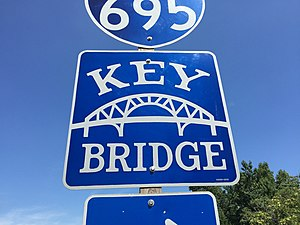 Francis Scott Key Bridge (Baltimore) - Sign for the Key Bridge used on approach roads
