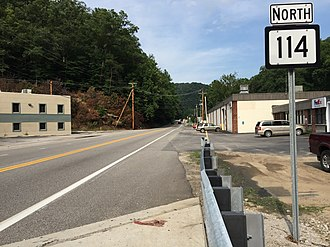 West Virginia Route 114 - View north along WV 114 just east of Airport Road in Etowah