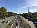 2018-10-25 11 50 42 View east along Interstate 66 (Custis Memorial Parkway) and the Orange and Silver lines of the Washington Metro from the overpass for North Ohio Street in Arlington County, Virginia.jpg