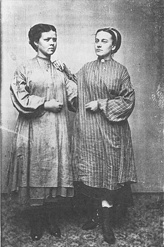 Waltham-Lowell system - Tintype of two young women in Lowell, Massachusetts (circa 1871)