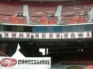The San Francisco 49ers' retired jersey number...
