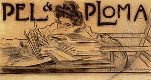 Pèl & Ploma - Cover of Pèl y Ploma, Issue 11, drawn by Ramón Casas in charcoal, pencil, and ink. 1899.