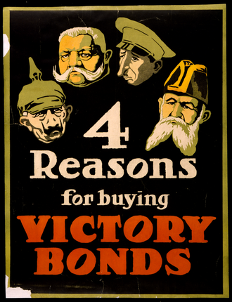 """Canada Savings Bond - """"4 Reasons for Buying Victory Bonds"""" by unknown, Canadian Government created, 1917"""