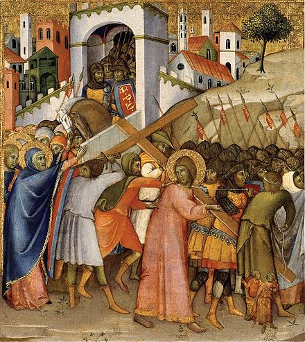 Andrea di Bartolo, Way to Calvary, c. 1400. The cluster of halos at the left are the Virgin Mary in front, with the Three Marys. 5 Andrea di Bartolo. Way to Calvary. c. 1400, Thissen-Bornhemisza coll. Madrid.jpg