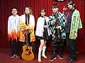 5 people standing on the stage with Demon Slayer cosplay clothing 20210321b.jpg
