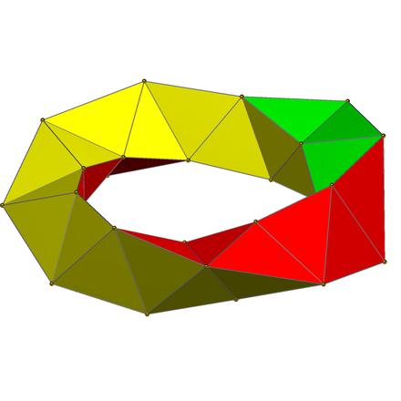 正六百胞体上的30个四面体组成的环(球极投影),图片来自维基百科