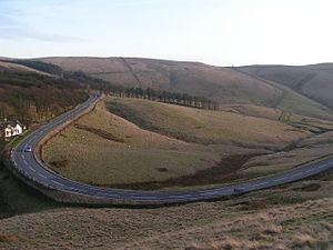 A5004 road - The A5004 from Hanging Rock, between Buxton and Fernilee.